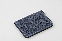 """Синяя кожаная обложка для id паспорта/водительских прав, орнамент """"Мандала"""", фото 1"""