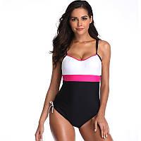 9001 Cплошной купальник  Черний с белим + розовая вставка -пояс, фото 1