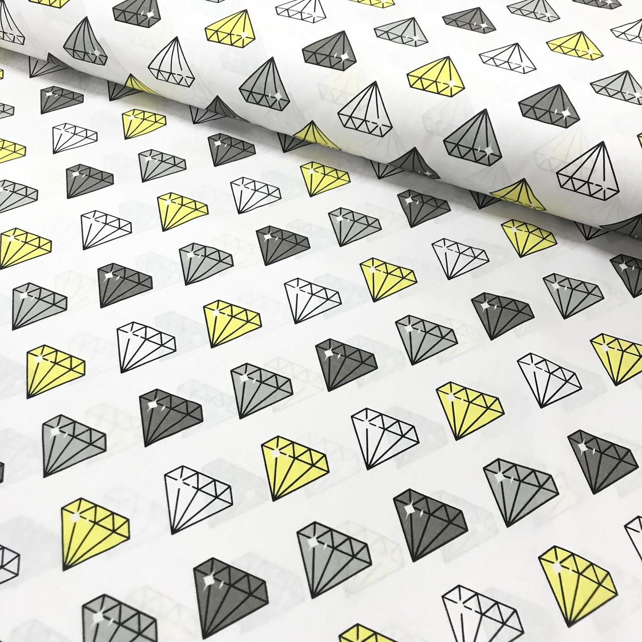 Хлопковая ткань польская, алмазы серые, белые, желтые на белом