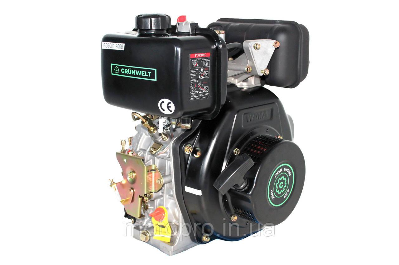 Двигатель Grunwelt GW178FE  for1100 (вал ШЛИЦЫ), дизель 6.0 л.с., Эл/ст