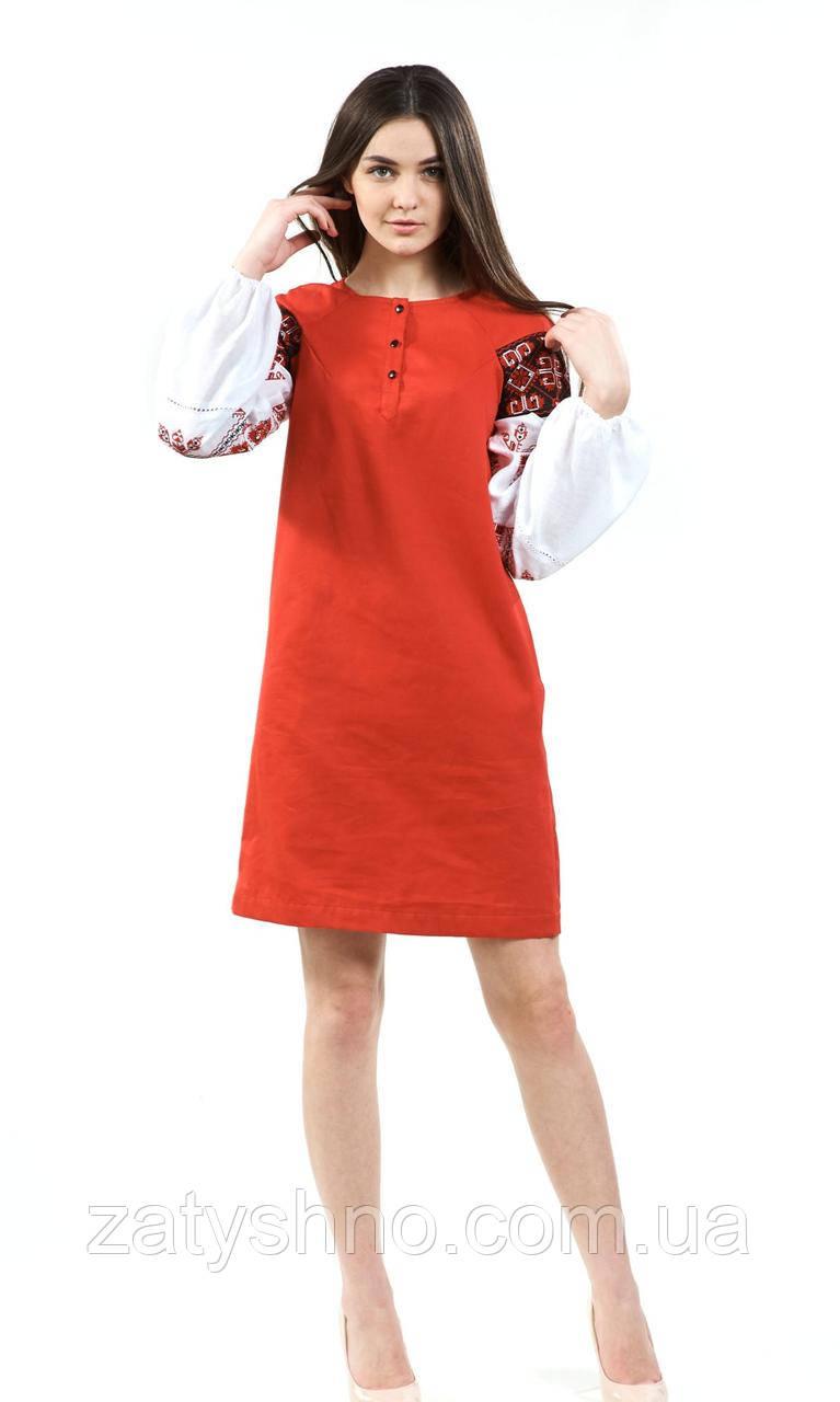 Красное вышитое платья