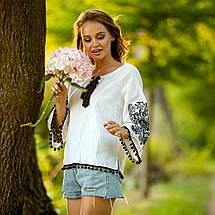 Жіноча блуза з вишивкою Етностиль біла, фото 2