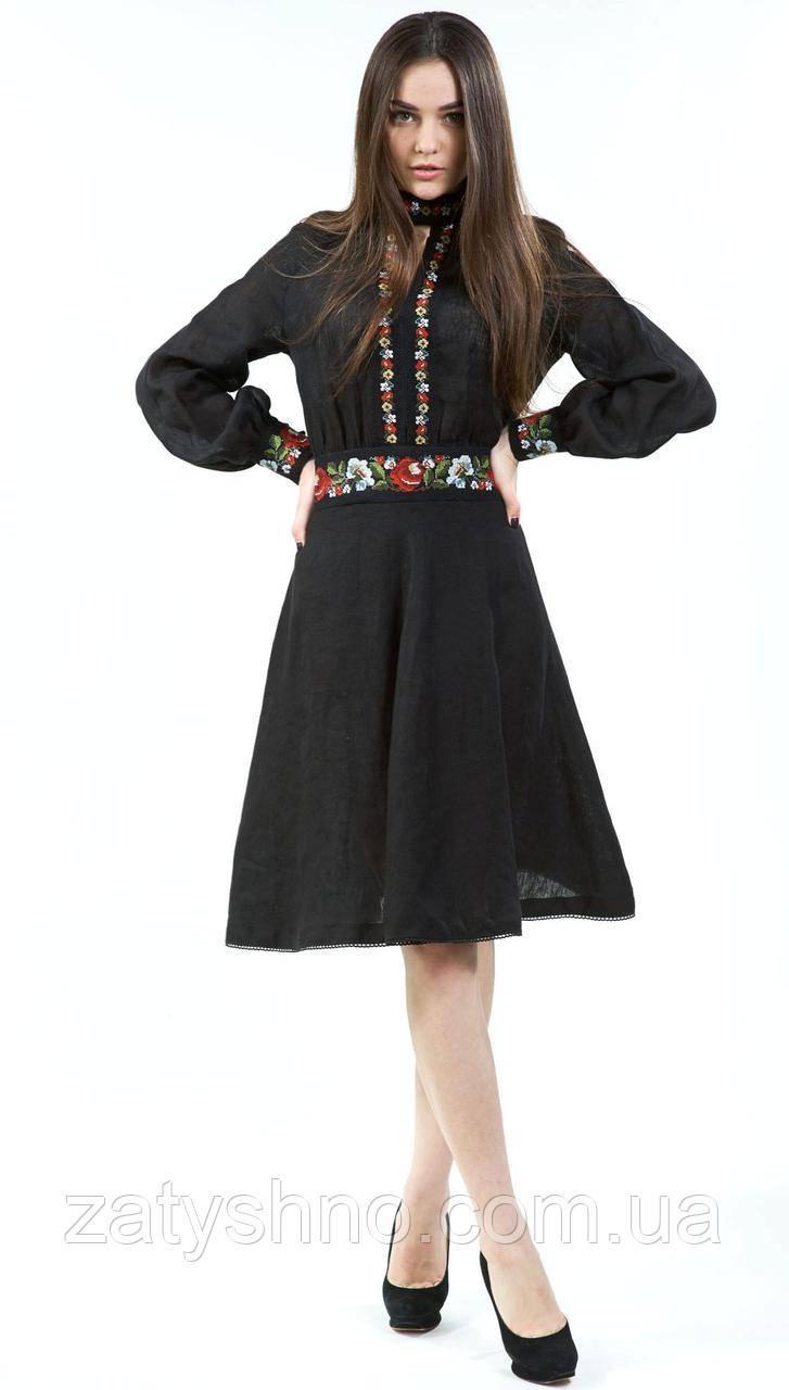 Чорний вишитий сарафан з довгим рукавом льон