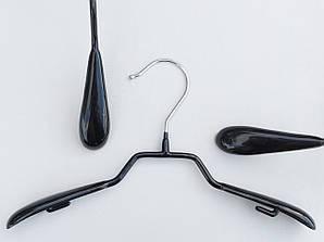 Плечики детские металлические в силиконовом покрытии широкие черные, 31 см