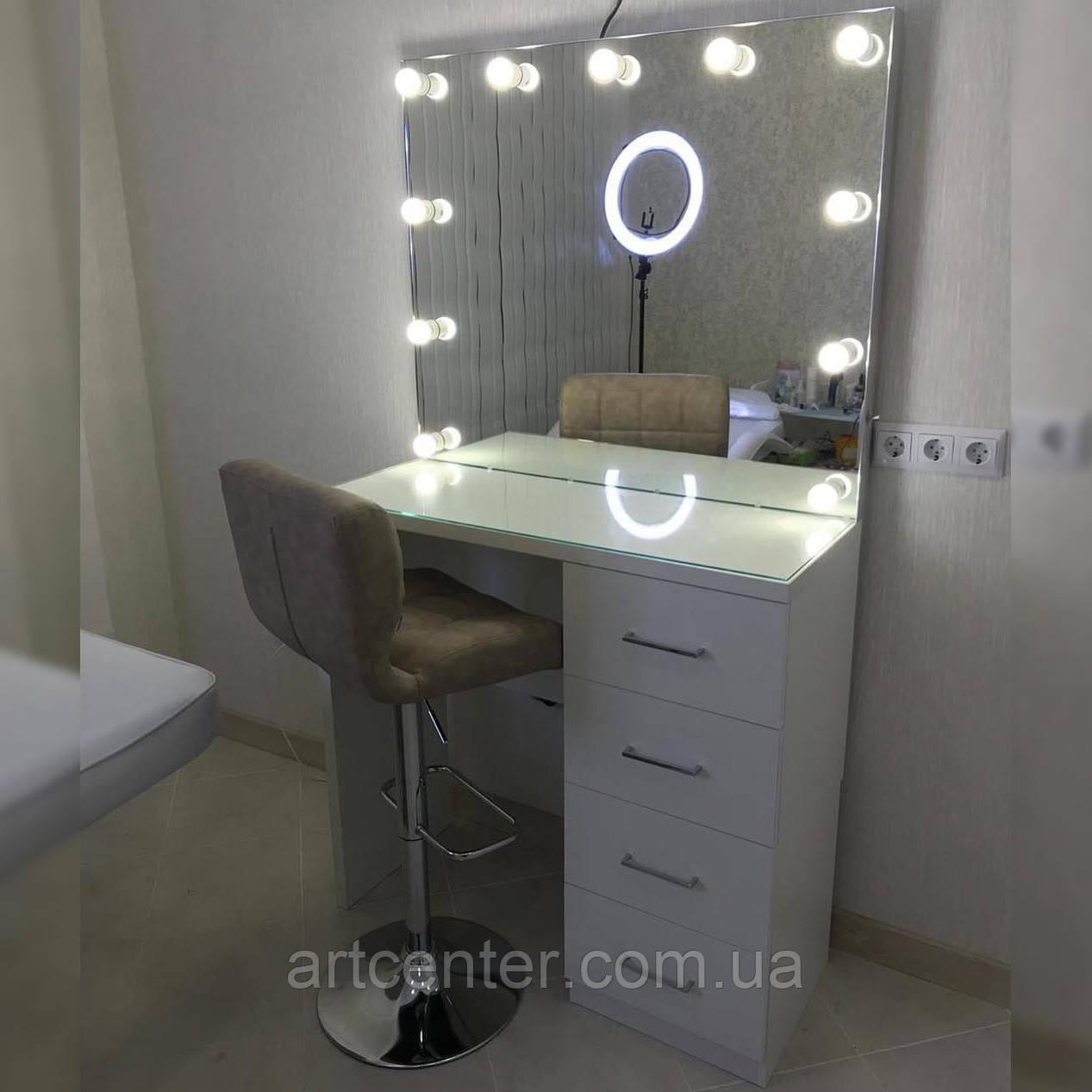 Однотумбовий визажный стіл з дзеркалом
