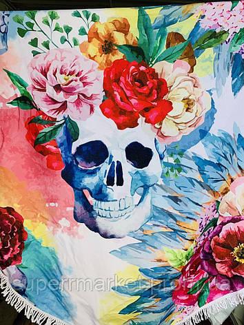Пляжное полотенце круглое Череп с цветами, 150см, фото 2