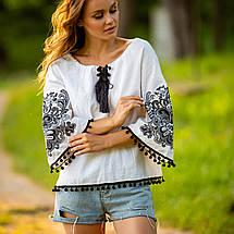 Жіноча блуза з вишивкою Етностиль біла, фото 3