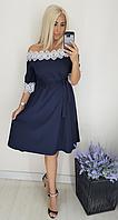 Платье летнее с кружевной отделкой, синее с 48-58 размер, фото 1