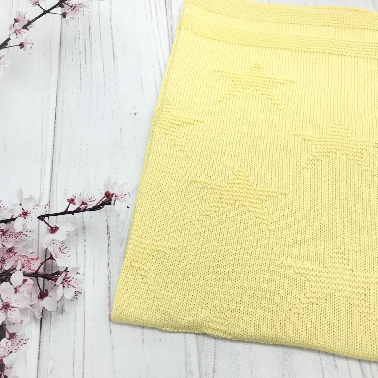 Плед вязанный (90% хлопок, 10% акрил) звезды желтый 95*75 см