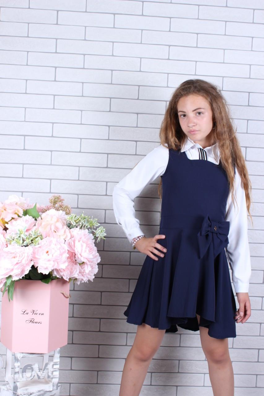 Школьный сарафан для девочки р.128-158 синий