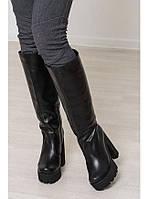 Женские сапоги из натуральной кожи черного цвета на толстом каблуке EPATAZH BLACK LEATHER W