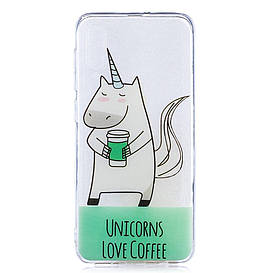 Чехол накладка для Samsung Galaxy A50 A505FD силиконовый, Единороги любят кофе
