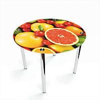 Стол кухонный стеклянный Круглый Fruit 70х70 *Эко (БЦ-стол ТМ)