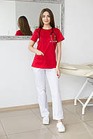 Костюм медицинский Жасмин красный- белый
