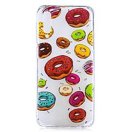 Чехол накладка для Samsung Galaxy A50 A505FD силиконовый, Разноцветные пончики