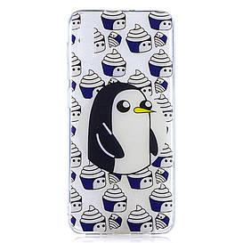 Чехол накладка для Samsung Galaxy A50 A505FD силиконовый, Penguin and Cupcake