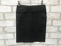 Юбка школьная детская прямая для девочки от 6 до 10лет чёрная с вставками на поясе, фото 1
