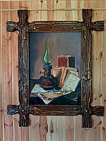 """Картина """"Забутий натюрморт"""" в рамі з дерева (під старовину)"""