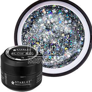 Glow Gel Starlet Professional №02, 7 г бриллиант голограммное серебро