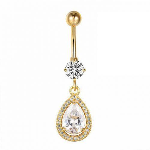 Серьга в пупок подвеска золотая капля с кристаллами Swarovski 138776