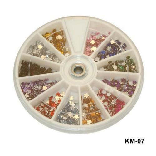 Стразы для декора ногтей цветы разноцветные в карусели