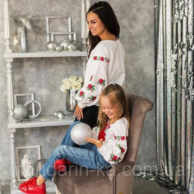 Вышиванка для девочки Трояндочка на домотканой ткани
