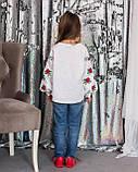 Вышиванка для девочки Трояндочка на домотканой ткани , фото 2