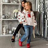 Вышиванка для девочки Трояндочка на домотканой ткани , фото 5