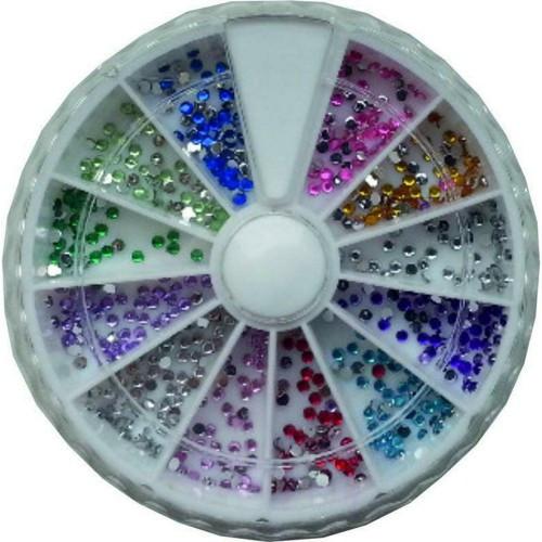 Стразы для декора ногтей разноцветные в карусели