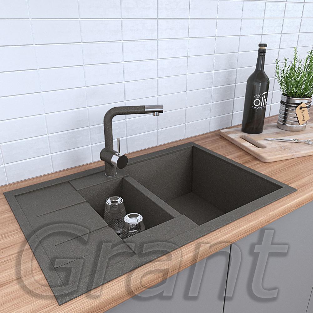 Гранитная полуторачашевая мойка кухонная Grant Duos серый