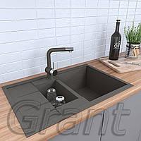 Гранитная полуторачашевая мойка кухонная Grant Duos серый, фото 1