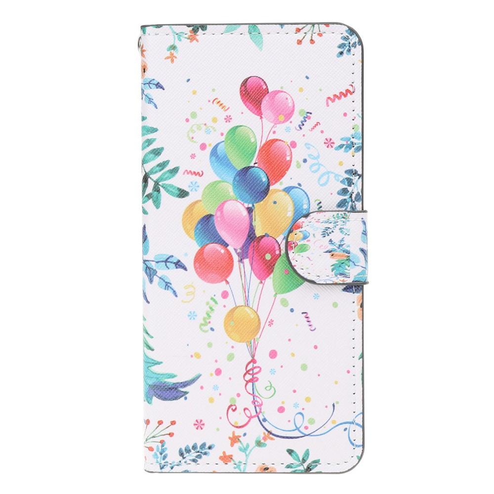 Чехол книжка для Samsung Galaxy A50 A505FD боковой с отсеком для визиток, Воздушные шары