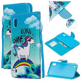 Чехол книжка для Samsung Galaxy A10 A105FD боковой с отсеком для визиток, Born to Shine