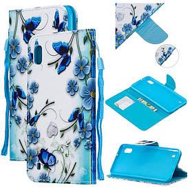 Чехол книжка для Samsung Galaxy A10 A105FD боковой с отсеком для визиток, Васильки и бабочки