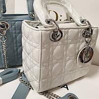 Женская сумка Dior мини копия люкс голубая белая