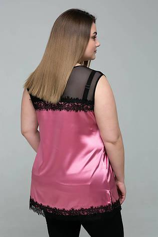Атласная розовая майка для полных Тони, фото 2