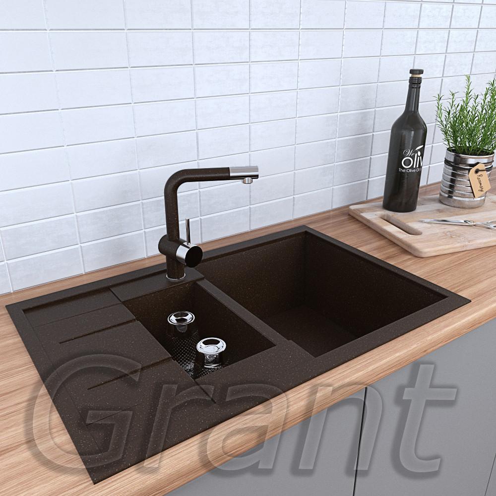 Врезная полуторачашевая мойка кухонная Grant Duos коричневая