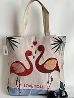 Льняная эко-сумка шоппер тканевая летняя