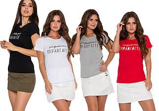 Женская хлопковая футболка с блестящей надписью (S, M, L, XL, разные цвета)