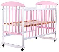 Кроватка детская бело-розовая