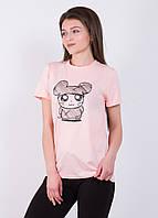 Женская футболка с принтом Мышка 9221 Розовый