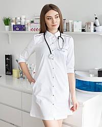 Женский медицинский халат Манхэттэн белый- фиолетовый