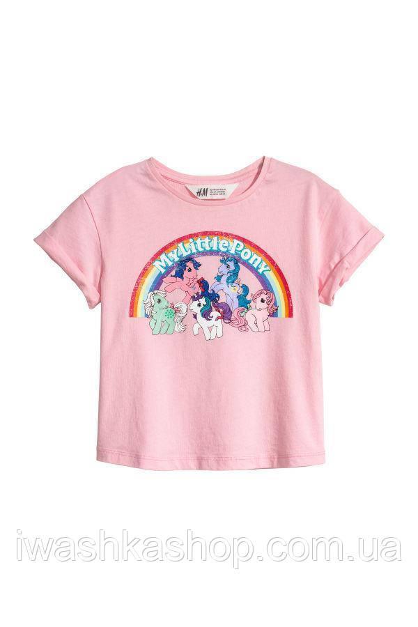Стильная розовая футболка с пони для девочек 8 - 10 лет, р. 134 - 140, H&M