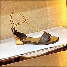 Босоножки сандали Луи Витон на плоской подошве кожаная реплика