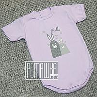 Детское боди футболка 92 12-18 мес легкий с коротким рукавом для малышей летний на лето РИБАНА 4757 Сиреневый, фото 1