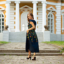 Женское льняное платье вышиванка Клер синяя, фото 3