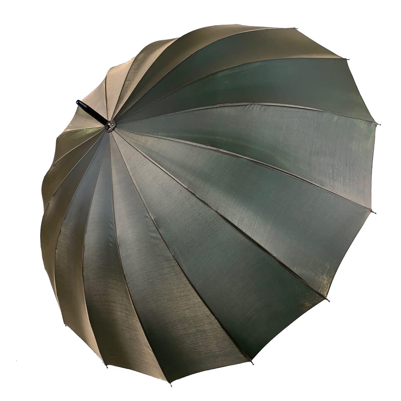 Женский зонтик-трость, полуавтомат от Calm Rain, оливковый / серый (хамелеон), 1002-2