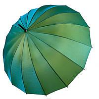 Женский зонтик-трость, полуавтомат от Calm Rain, зеленый (хамелеон), 1002-3