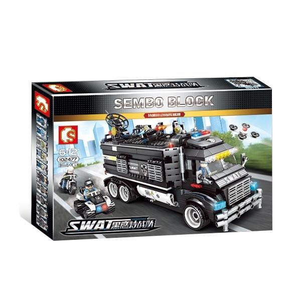 "Конструктор Sembo 102477 ""Полицейский фургон - база"" (аналог Lego City), 1164 дет"
