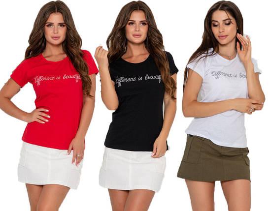 Хлопковая женская футболка с блестящей надписью (S, M, L, XL, разные цвета), фото 2